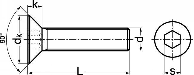 Vis à Tête Fraisée à Six Pans Creux Acier Classe 109 Zn Iso 10642