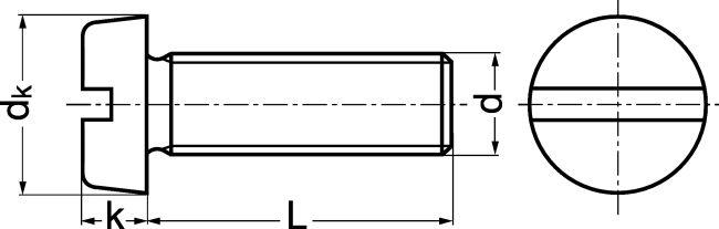 Vis à Métaux Tête Cylindrique Fendue Acier Classe 48 Zn Din 84