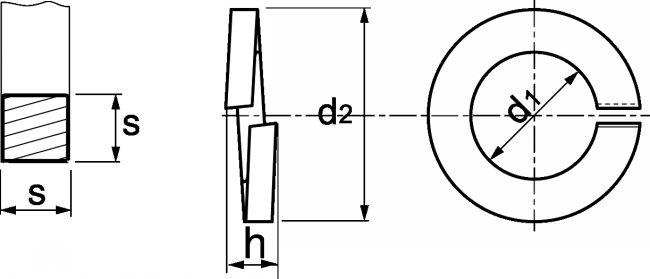Rondelle élastique Grower Section Carrée Inox A1 Din 7980 Modèle