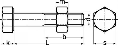 Schéma Boulon à tête hexagonale