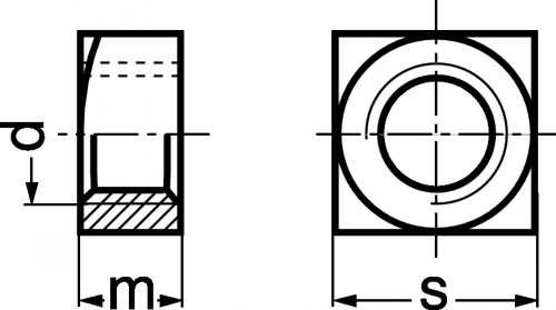 """Schéma Ecrou carré """"Q"""""""
