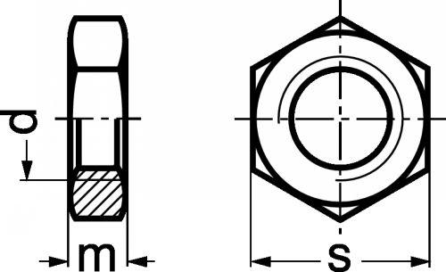Schéma Ecrou hexagonal bas Hm