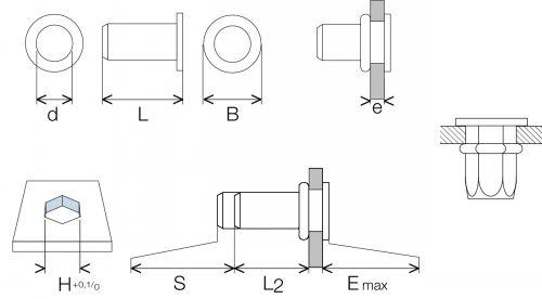 Schéma Ecrou noyé RIVKLE®  hexagonal tête plate