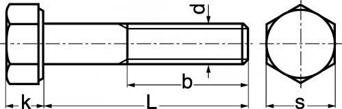 Schéma Vis à tête hexagonale partiellement filetée