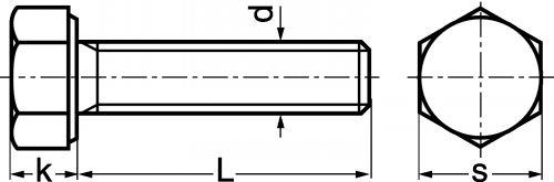 Schéma Vis à tête H au pas fin entièrement filetée