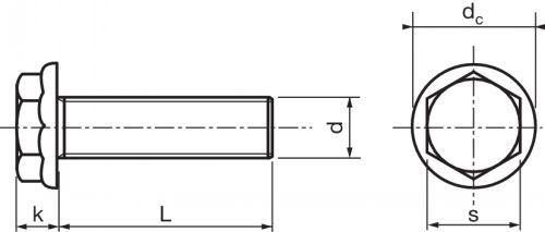 Schéma Vis à tête H à embase crantée Tensilock