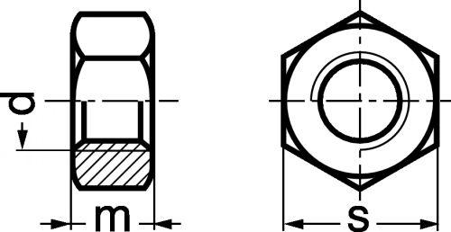 Schéma Ecrou hexagonal Hu