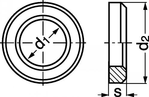 Schéma Rondelle plate chanfreinée
