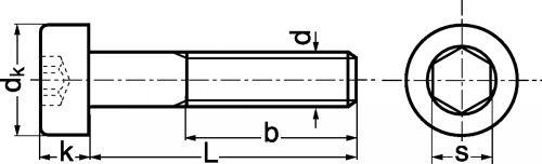 Schéma Vis à tête cyl basse à six pans creux