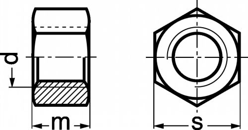 Schéma Ecrou hexagonal Haut Hh