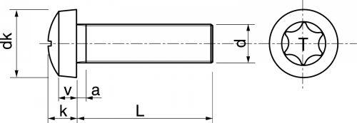 Schéma Vis à métaux tête cylindrique six lobes