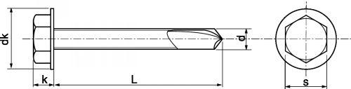 Schéma Vis autoperceuse tête H avec foret long