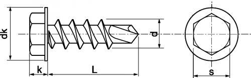 Schéma Vis autoperceuse tête hexagonale à embase