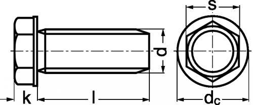 Schéma Vis autoformeuse tête hexagonale à embase
