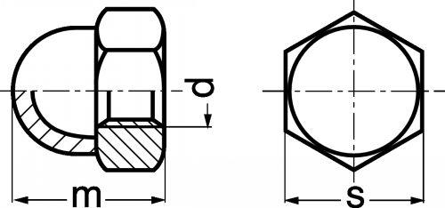 Schéma Ecrou hexagonal borgne étanche
