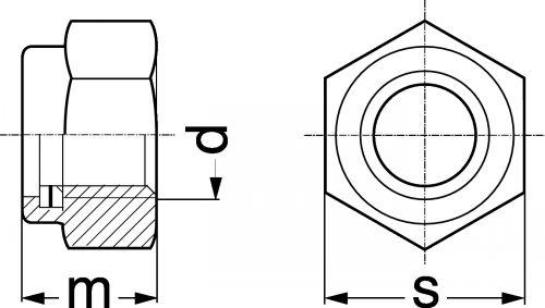Schéma Ecrou hexagonal autofreiné Nylstop P10