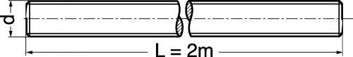 Schéma Tige filetée longueur 2 mètres