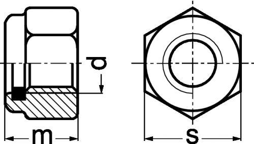Schéma Ecrou hexagonal autofreiné