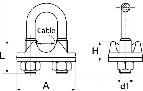 Serre cable à étrier