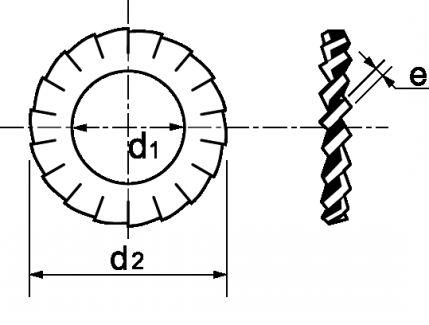 Schéma Rondelle à denture ext chevauchante AZ