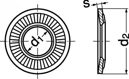 Schéma Rondelle conique striée de serrage CS large