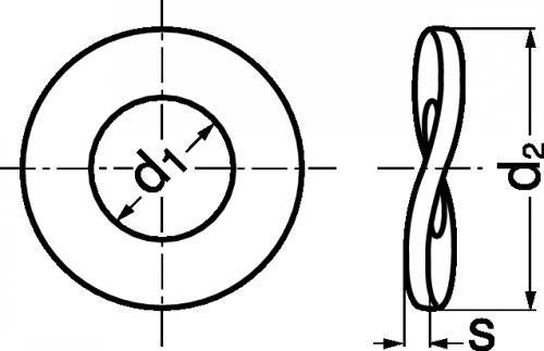 Schéma Rondelle élastique Onduflex 2 ondes type B