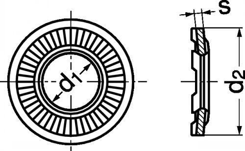 Schéma Rondelle conique striée de serrage à picot
