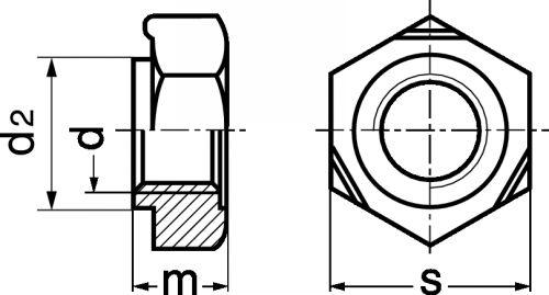 Schéma Ecrou hexagonal à souder avec centrage
