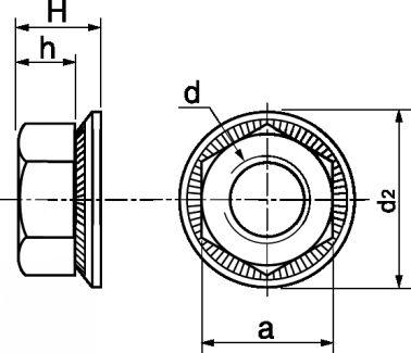 Schéma Ecrou hexagonal à rondelle Twolock® CS