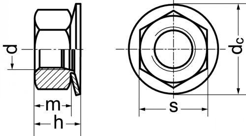 Schéma Ecrou hexagonal à rondelle imperdable