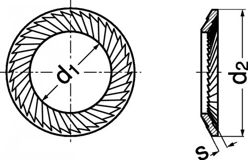 Schéma Rondelle ressort de sécurité type S std