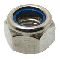 Tuerca hexagonal autobloquante a anillo non metalico din 985 acero calidad 6 zincado blanco